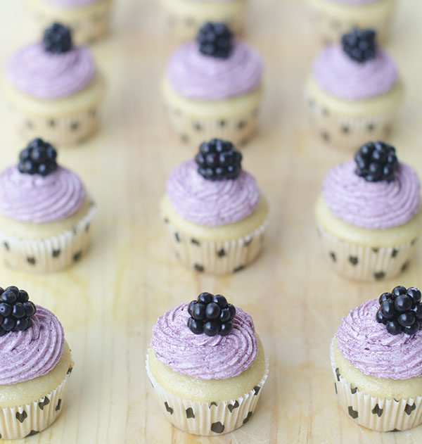 Mini Vegan Vanilla Cupcakes with Blackberry Frosting | The Cake ...