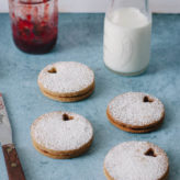 Brown Sugar Linzer Cookies with Strawberry Balsamic Jam