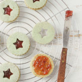 Matcha Almond Linzer Cookies with Strawberry Jam