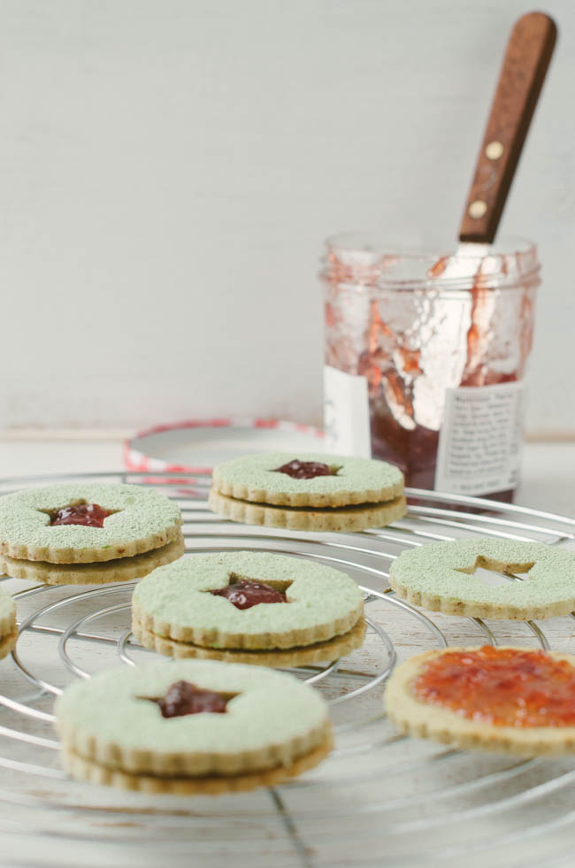 Matcha Almond Linzer Cookies with Strawberry Jam | The Cake Merchant