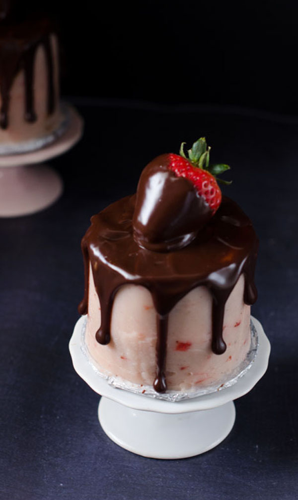 Mini Chocolate Covered Strawberry Cakes