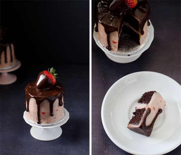 Mini Chocolate Strawberry Cakes