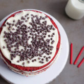 6-inch Red Velvet Chocolate Chip Cake with Vanilla Bean Cream Cheese Frosting