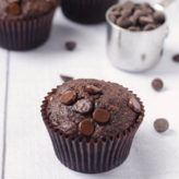 Small Batch Whole Wheat Double Chocolate Banana Muffins